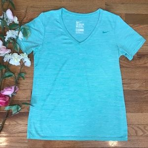 Nike Dry-Fit Athletic Cut Mint Green Stripe V-Neck